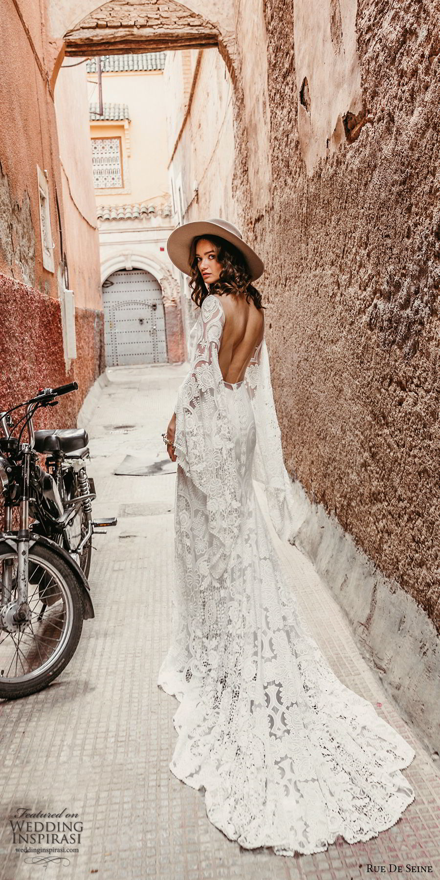rue de seine 2019 bridal sheer long sleeves illusion bateau neckline sweetheart trumpet sheath lace wedding dress (17) boho chic open back romantic chapel train bv