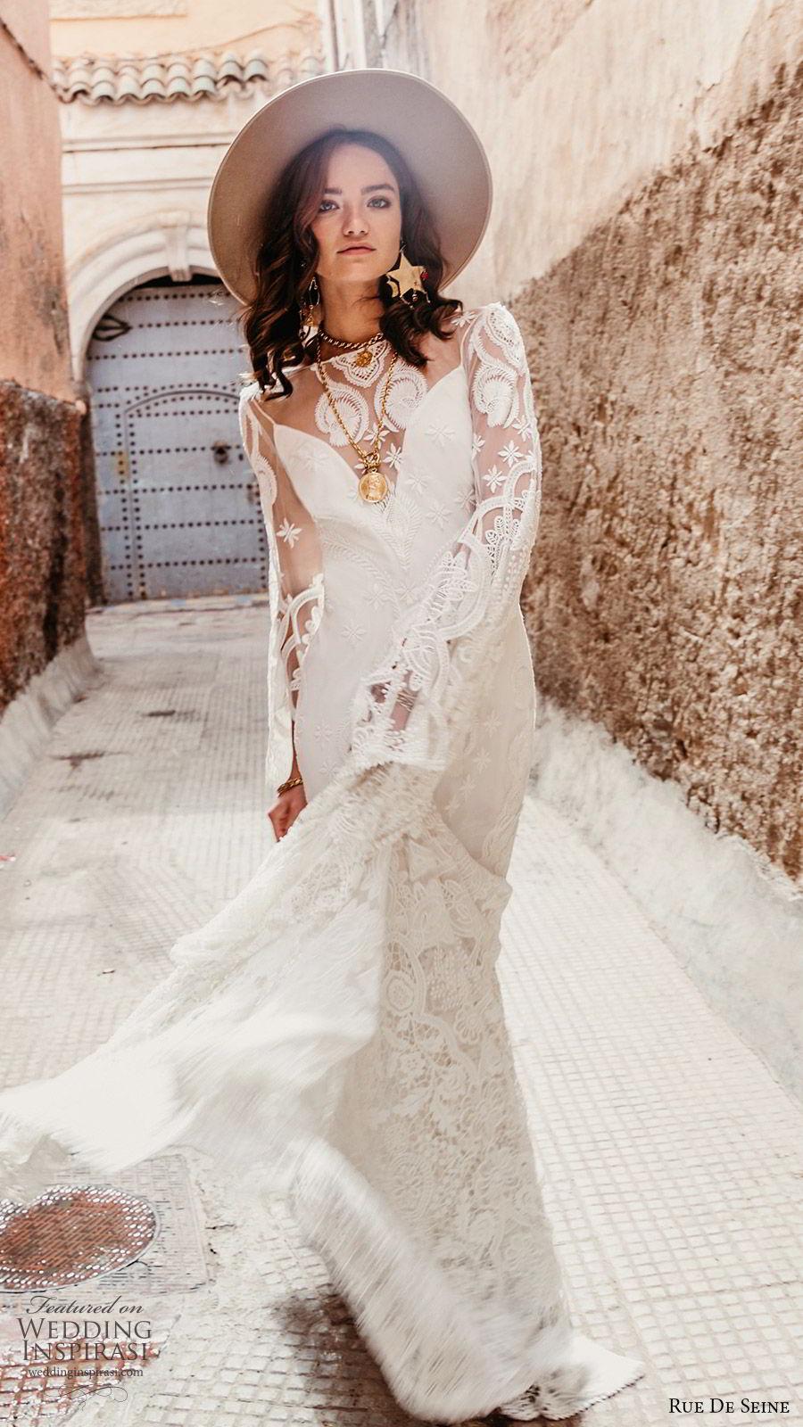 rue de seine 2019 bridal sheer long sleeves illusion bateau neckline sweetheart trumpet sheath lace wedding dress (17) boho chic open back romantic chapel train mv
