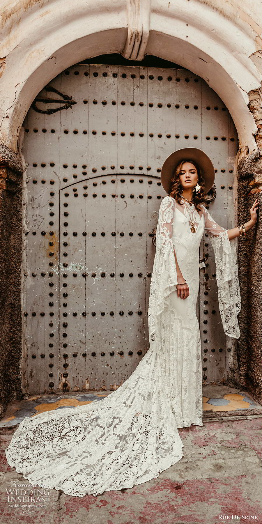 rue de seine 2019 bridal sheer long sleeves illusion bateau neckline sweetheart trumpet sheath lace wedding dress (17) boho chic open back romantic chapel train sv