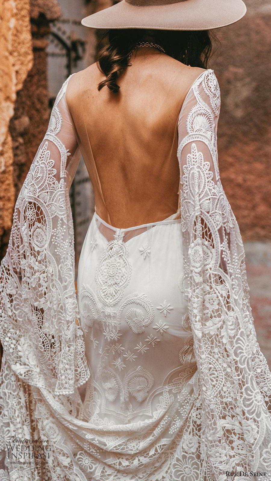 rue de seine 2019 bridal sheer long sleeves illusion bateau neckline sweetheart trumpet sheath lace wedding dress (17) boho chic open back romantic chapel train zbv