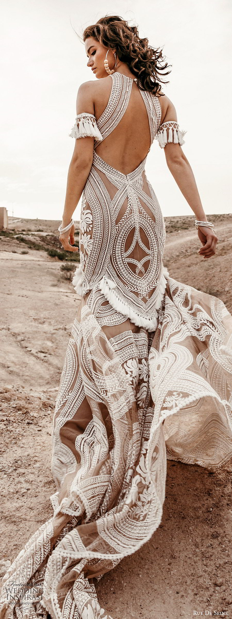 rue de seine 2019 bridal sleeveless halter neck fully embellished fit flare trumpet sheath lace wedding dress (3) boho chic nude color keyhole back chapel train bv