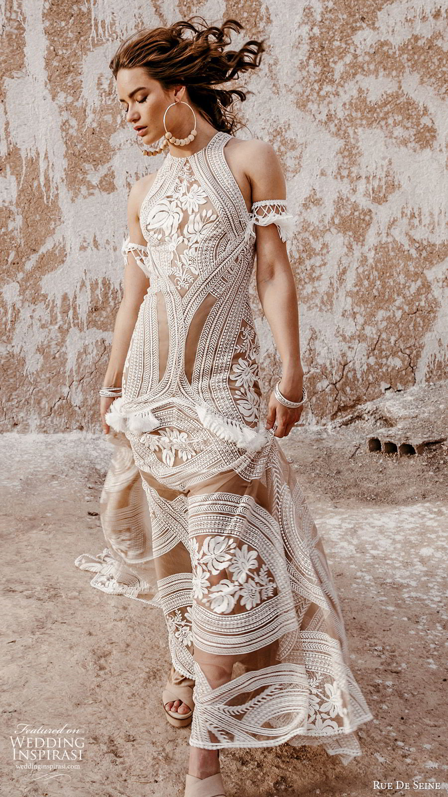 rue de seine 2019 bridal sleeveless halter neck fully embellished fit flare trumpet sheath lace wedding dress (3) boho chic nude color keyhole back chapel train mv