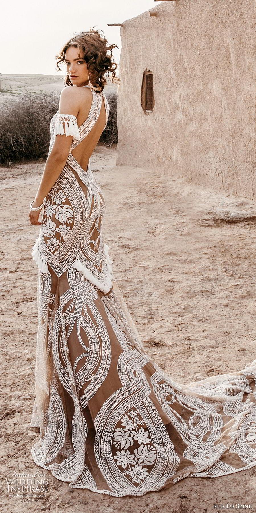 rue de seine 2019 bridal sleeveless halter neck fully embellished fit flare trumpet sheath lace wedding dress (3) boho chic nude color keyhole back chapel train sv