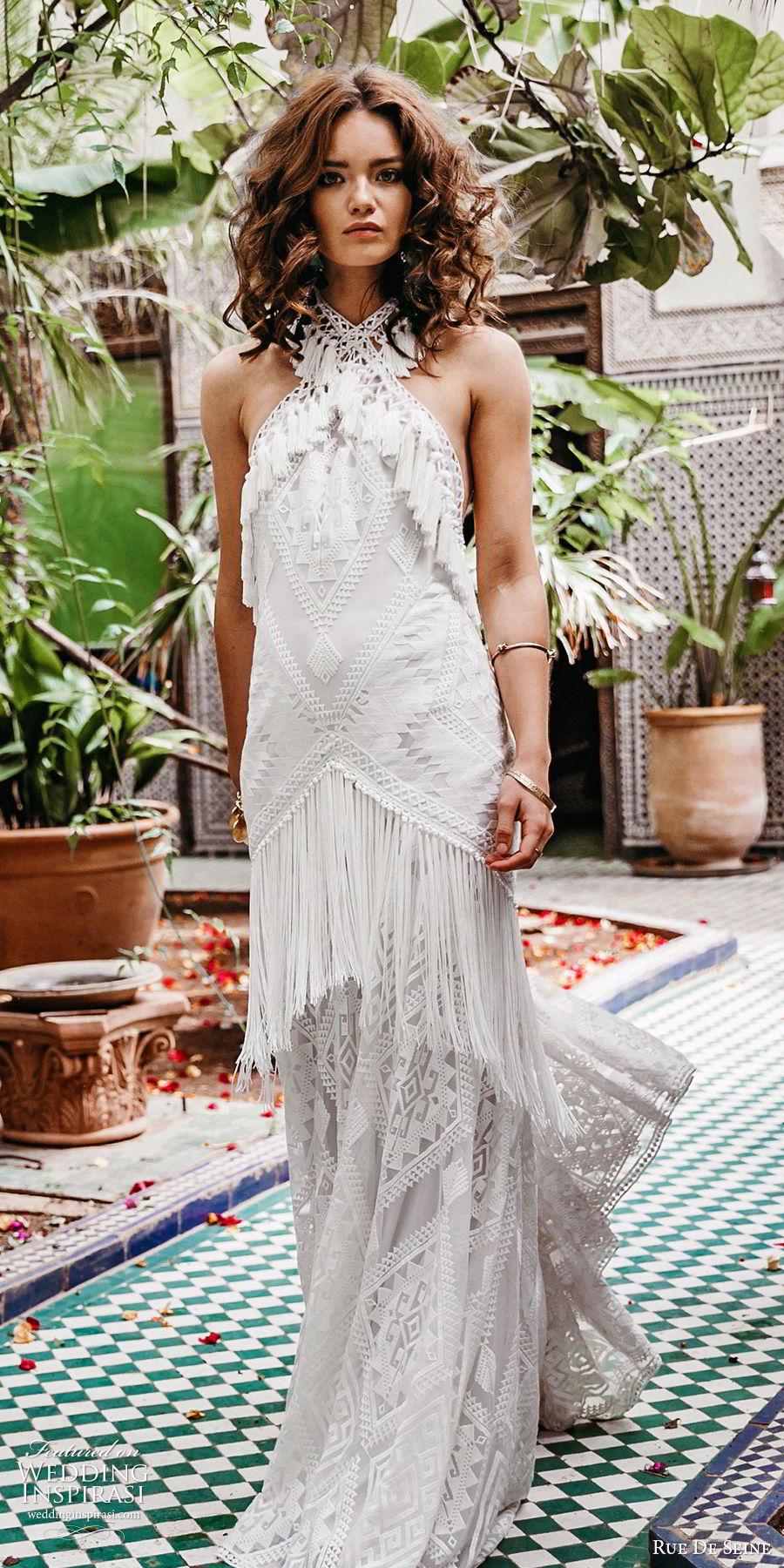 rue de seine 2019 bridal sleeveless halter neck fully embellished lace modified a line wedding dress (13) romantic boho chic open back chapel train mv