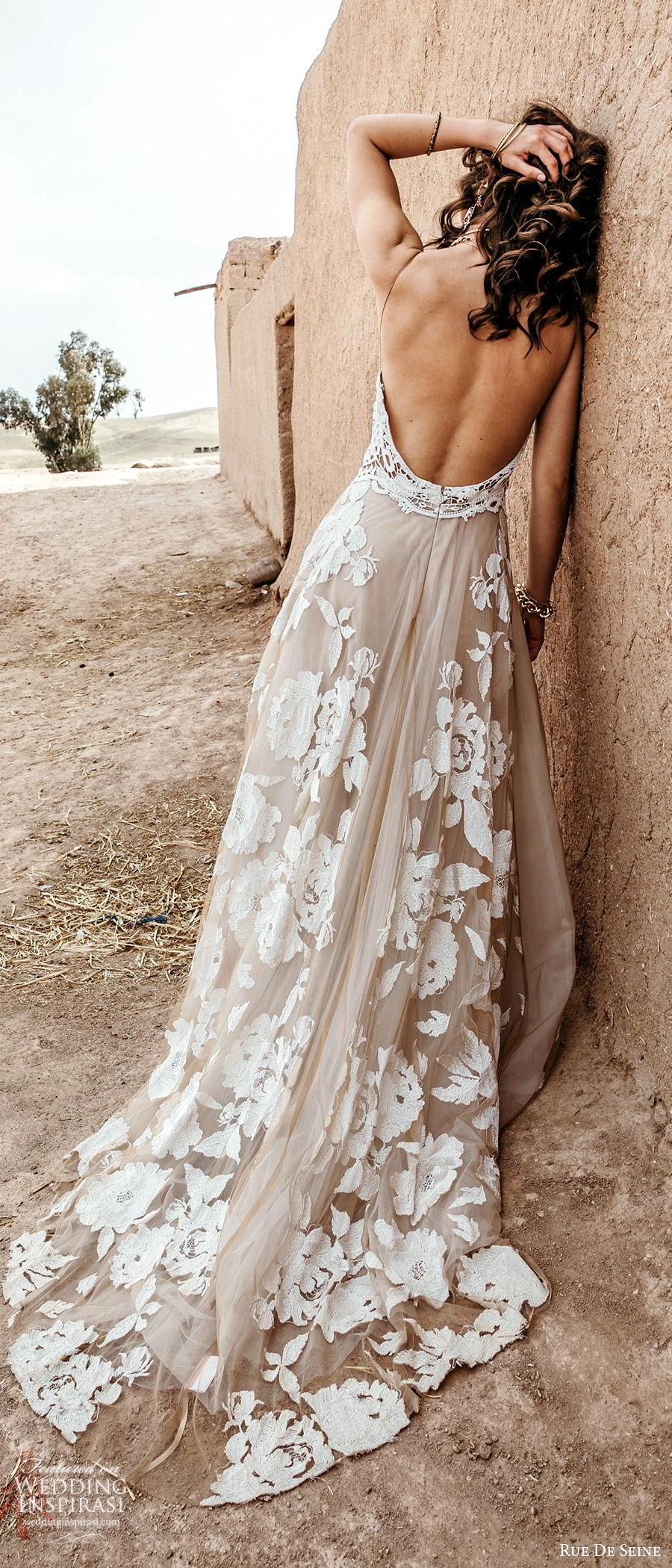 rue de seine 2019 bridal sleeveless halter neckline crochet bodice fully embellished a line wedding dress (4) blush color low back sweep train bv