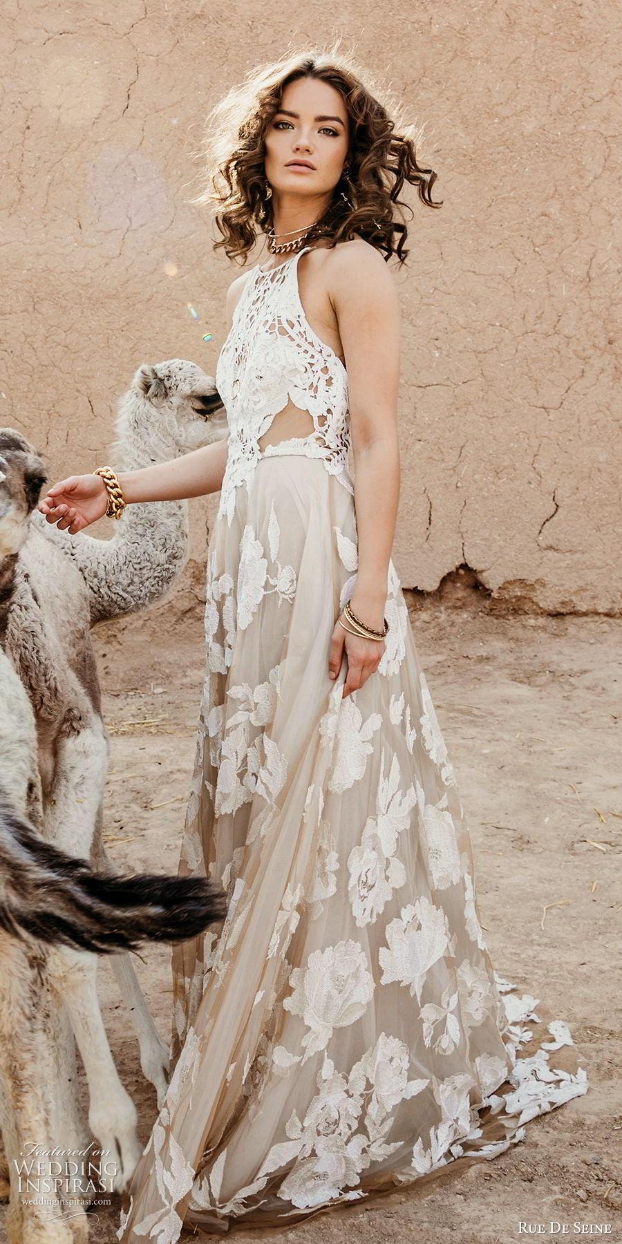rue de seine 2019 bridal sleeveless halter neckline crochet bodice fully embellished a line wedding dress (4) blush color low back sweep train mv