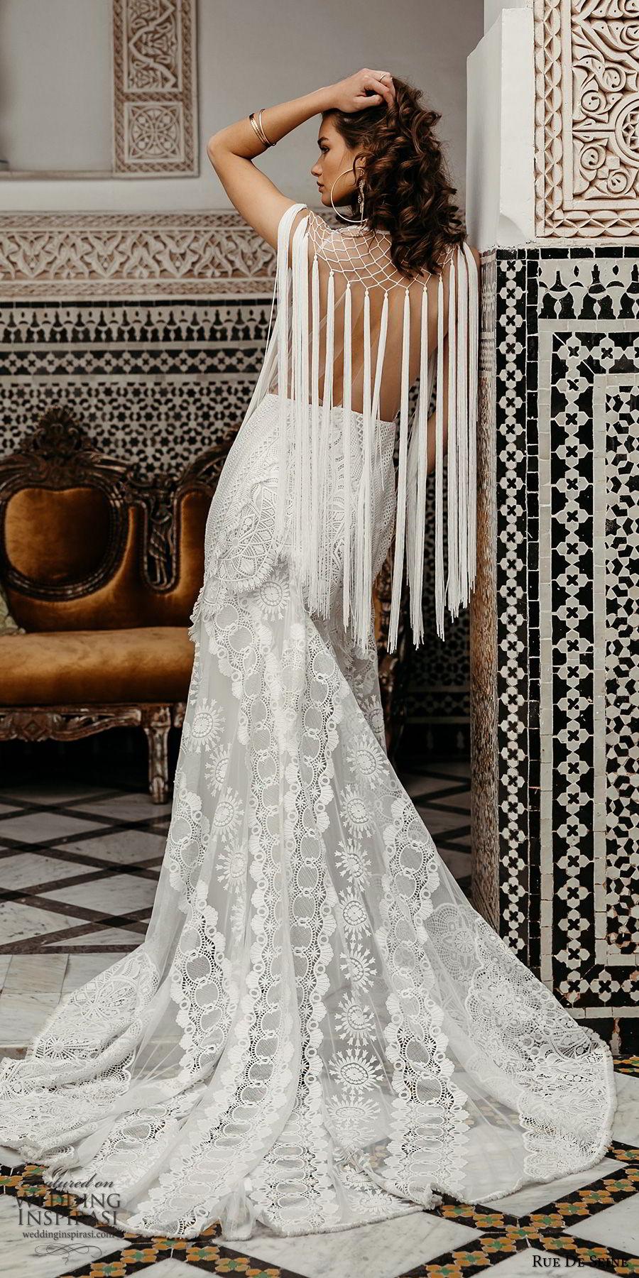 rue de seine 2019 bridal sleeveless illusion straps plunging v neckline embellished lace modified a line wedding dress (12) boho chic romantic open back chapel train bv