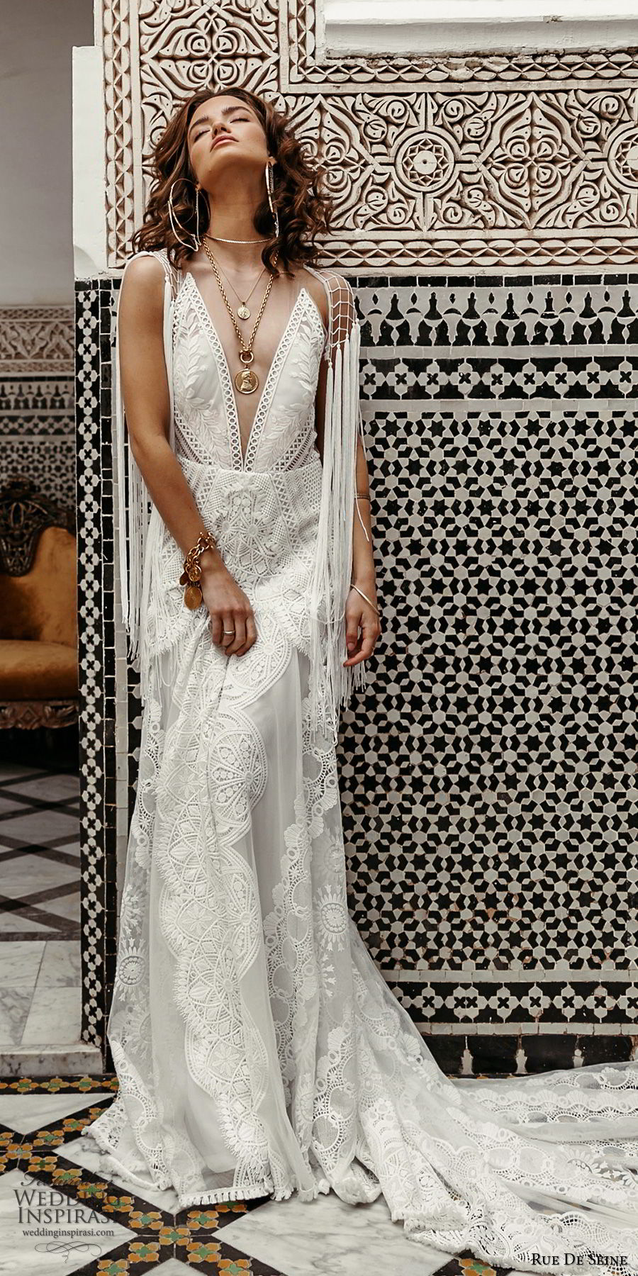rue de seine 2019 bridal sleeveless illusion straps plunging v neckline embellished lace modified a line wedding dress (12) boho chic romantic open back chapel train mv