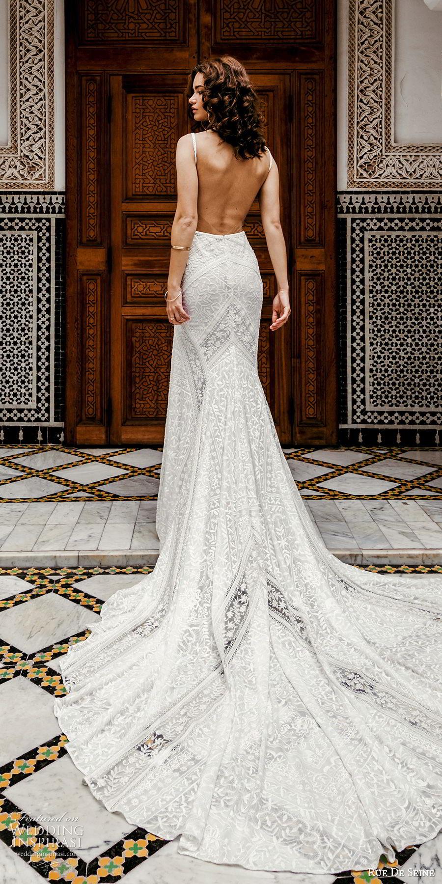 rue de seine 2019 bridal sleeveless thick straps deep v neckline lace fit flare sheath wedding dress (11) boho chic romantic open back chapel train bv