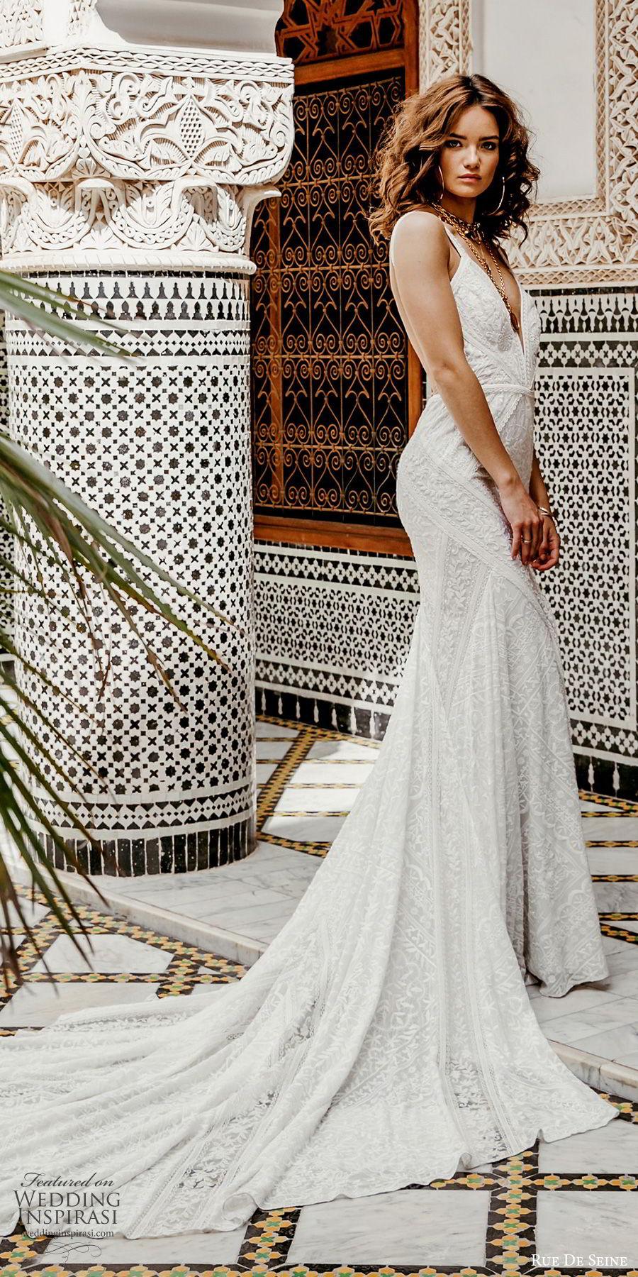 rue de seine 2019 bridal sleeveless thick straps deep v neckline lace fit flare sheath wedding dress (11) boho chic romantic open back chapel train mv
