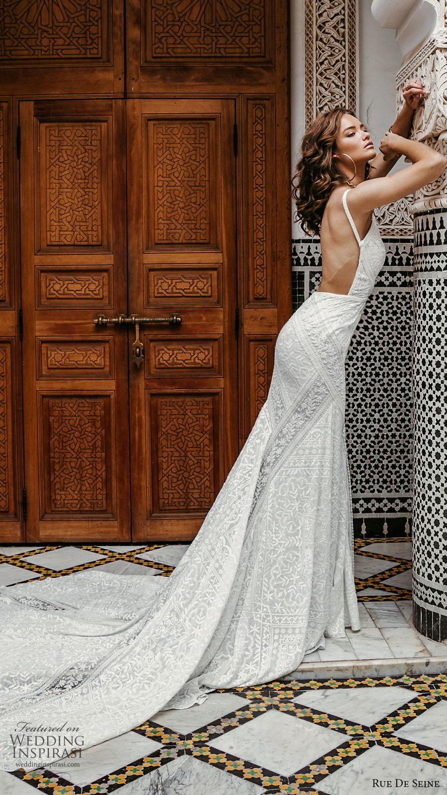 rue de seine 2019 bridal sleeveless thick straps deep v neckline lace fit flare sheath wedding dress (11) boho chic romantic open back chapel train sv