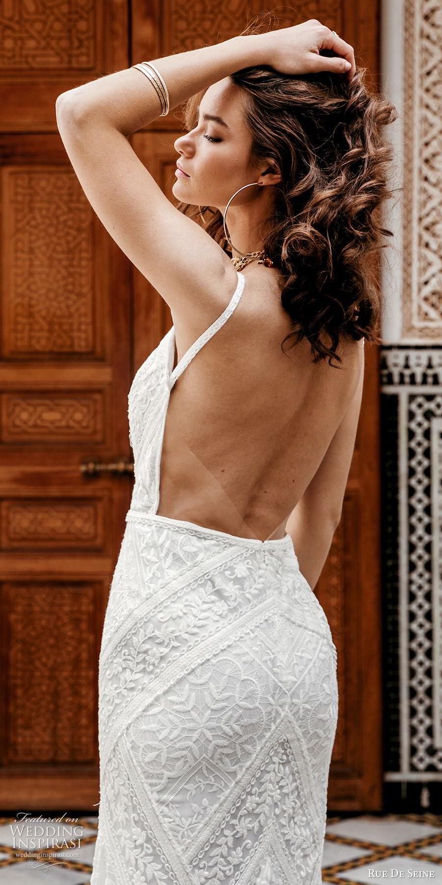 rue de seine 2019 bridal sleeveless thick straps deep v neckline lace fit flare sheath wedding dress (11) boho chic romantic open back chapel train zbv