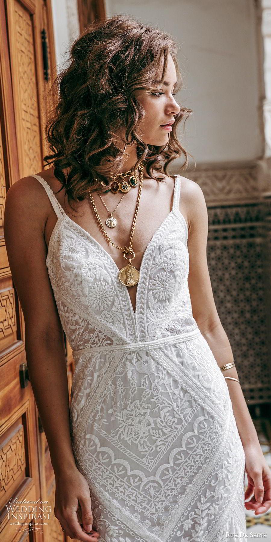 rue de seine 2019 bridal sleeveless thick straps deep v neckline lace fit flare sheath wedding dress (11) boho chic romantic open back chapel train zv