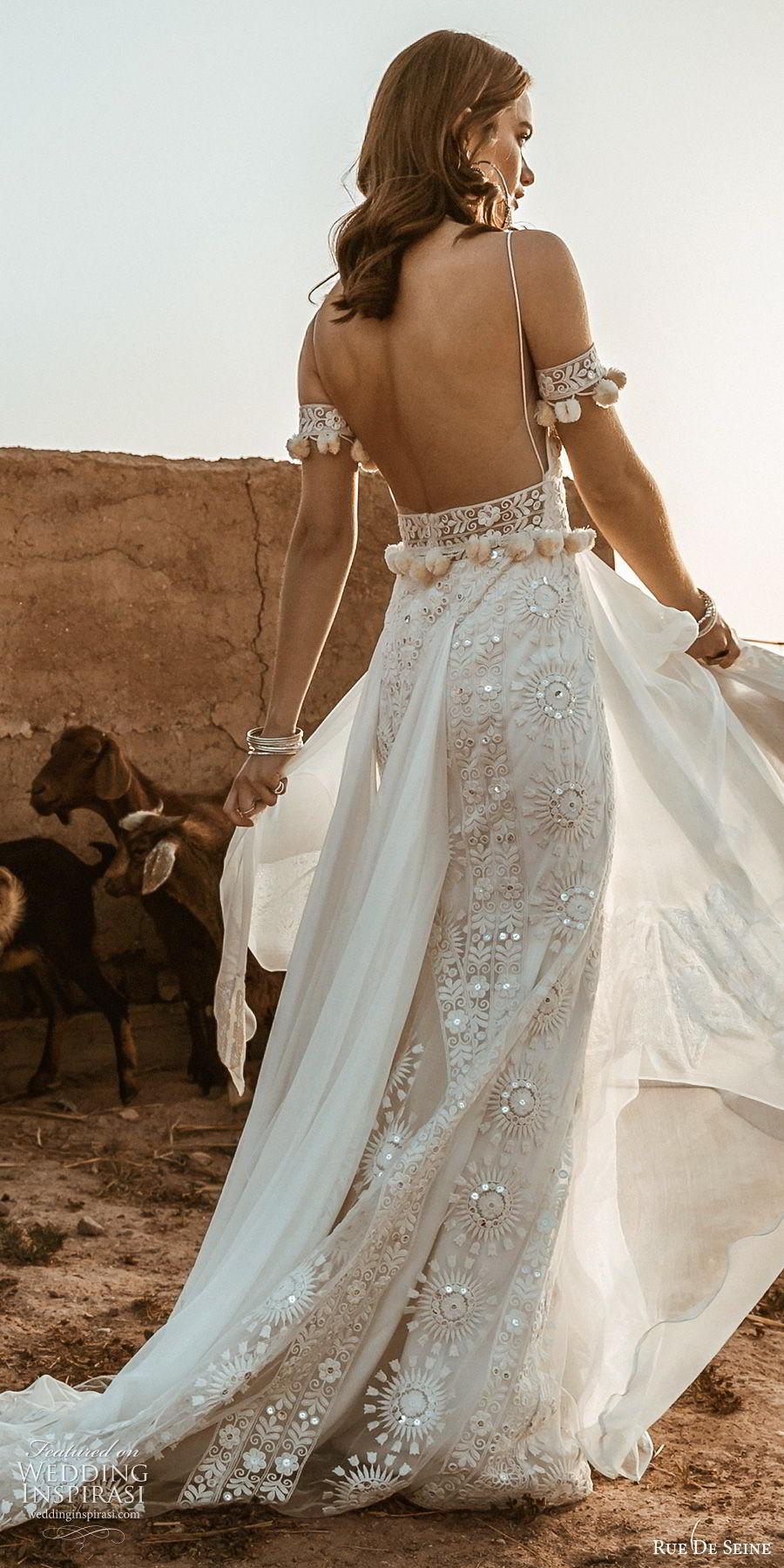 rue de seine 2019 bridal sleeveless thin straps deep sweetheart fully embellished lace modified a line sheath wedding dress (10) boho chic romantic chapel train bv