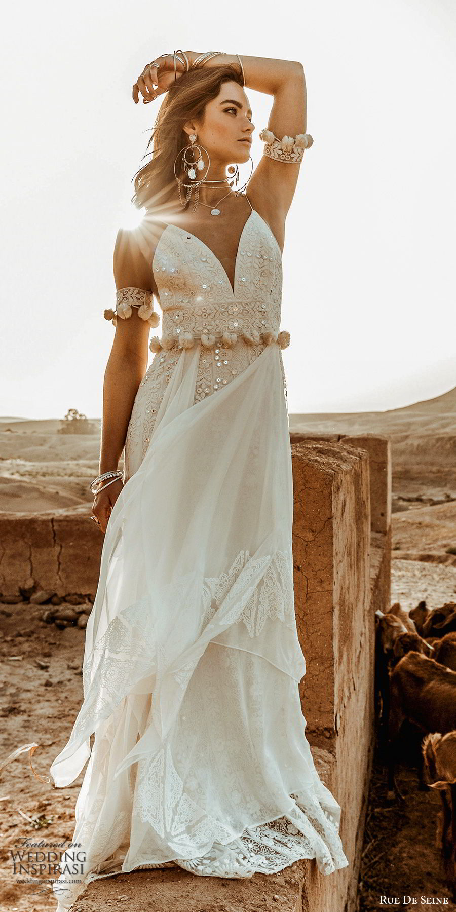 rue de seine 2019 bridal sleeveless thin straps deep sweetheart fully embellished lace modified a line sheath wedding dress (10) boho chic romantic chapel train mv