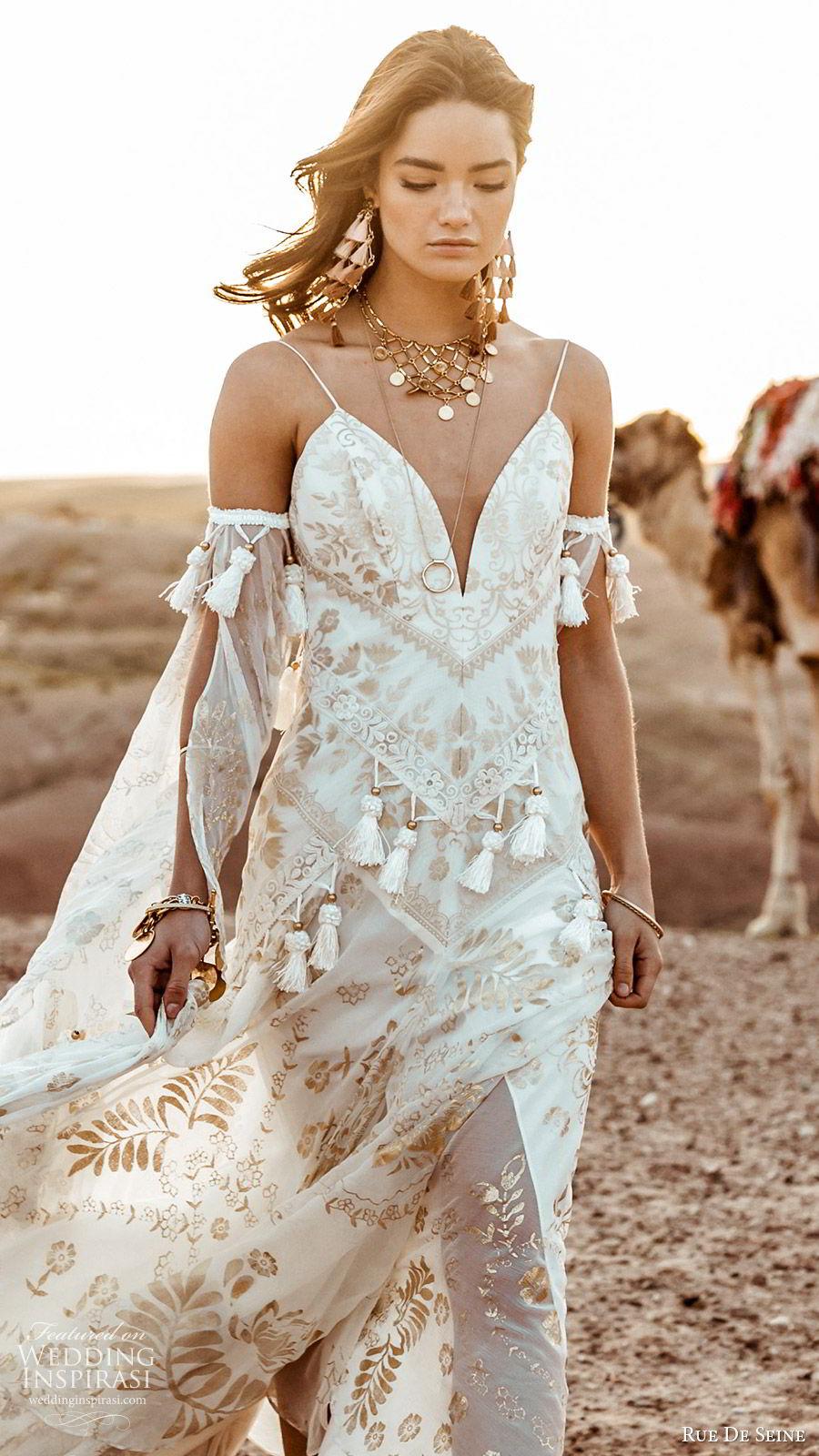 rue de seine 2019 bridal sleeveless thin straps detached long split sleeves sweetheart neckline modified a line wedding dress (8) boho chic romantic gold chapel train mv