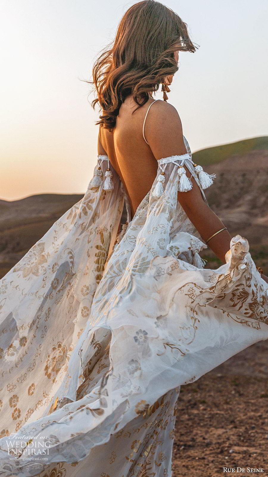 rue de seine 2019 bridal sleeveless thin straps detached long split sleeves sweetheart neckline modified a line wedding dress (8) boho chic romantic gold chapel train zbv