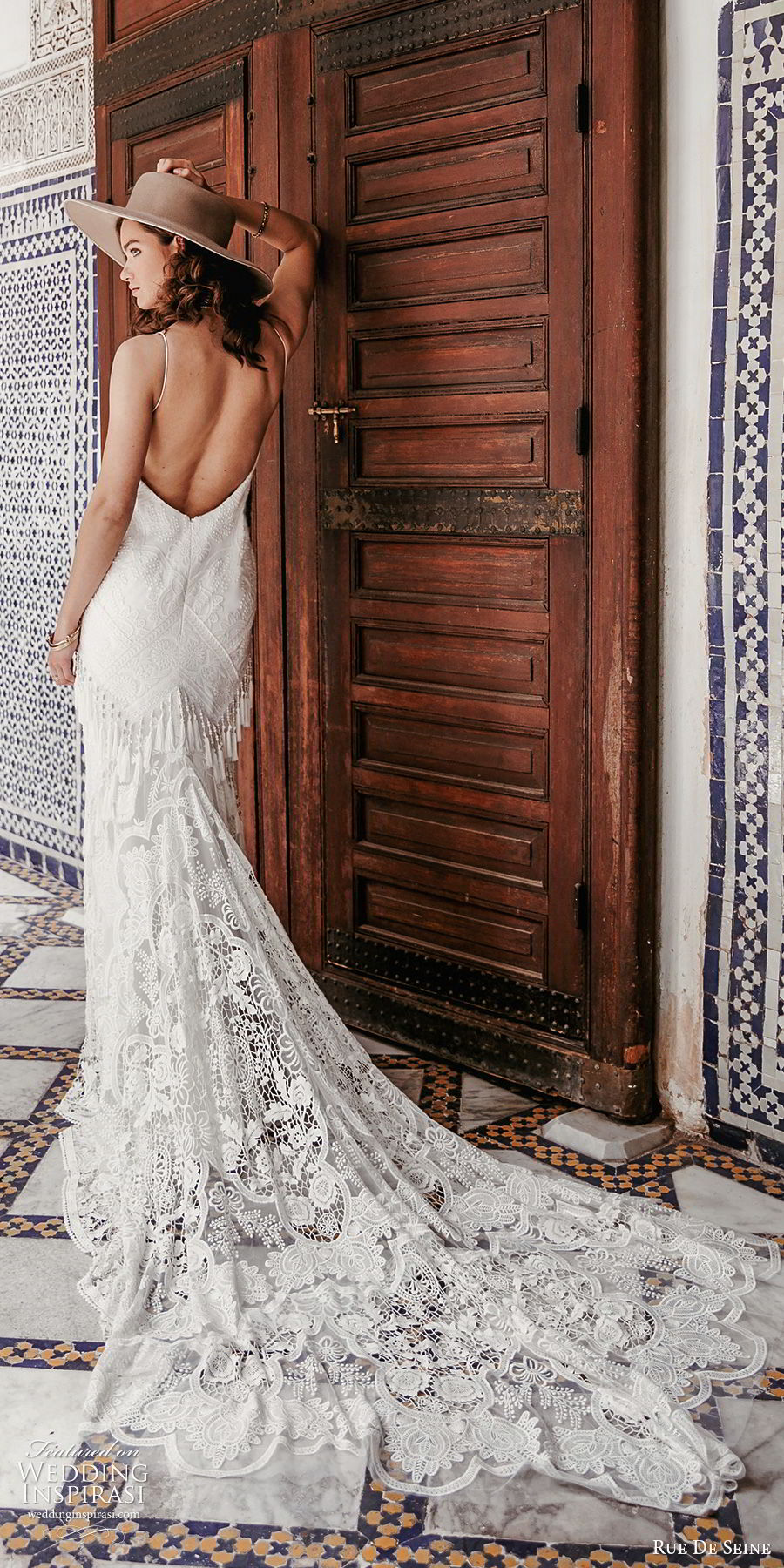 rue de seine 2019 bridal sleeveless thin straps plunging v neckline fully embellished lace modified a line wedding dress (18) boho chic romantic low back chapel train bv