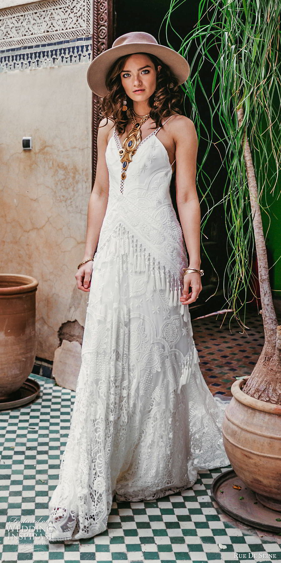 rue de seine 2019 bridal sleeveless thin straps plunging v neckline fully embellished lace modified a line wedding dress (18) boho chic romantic low back chapel train mv