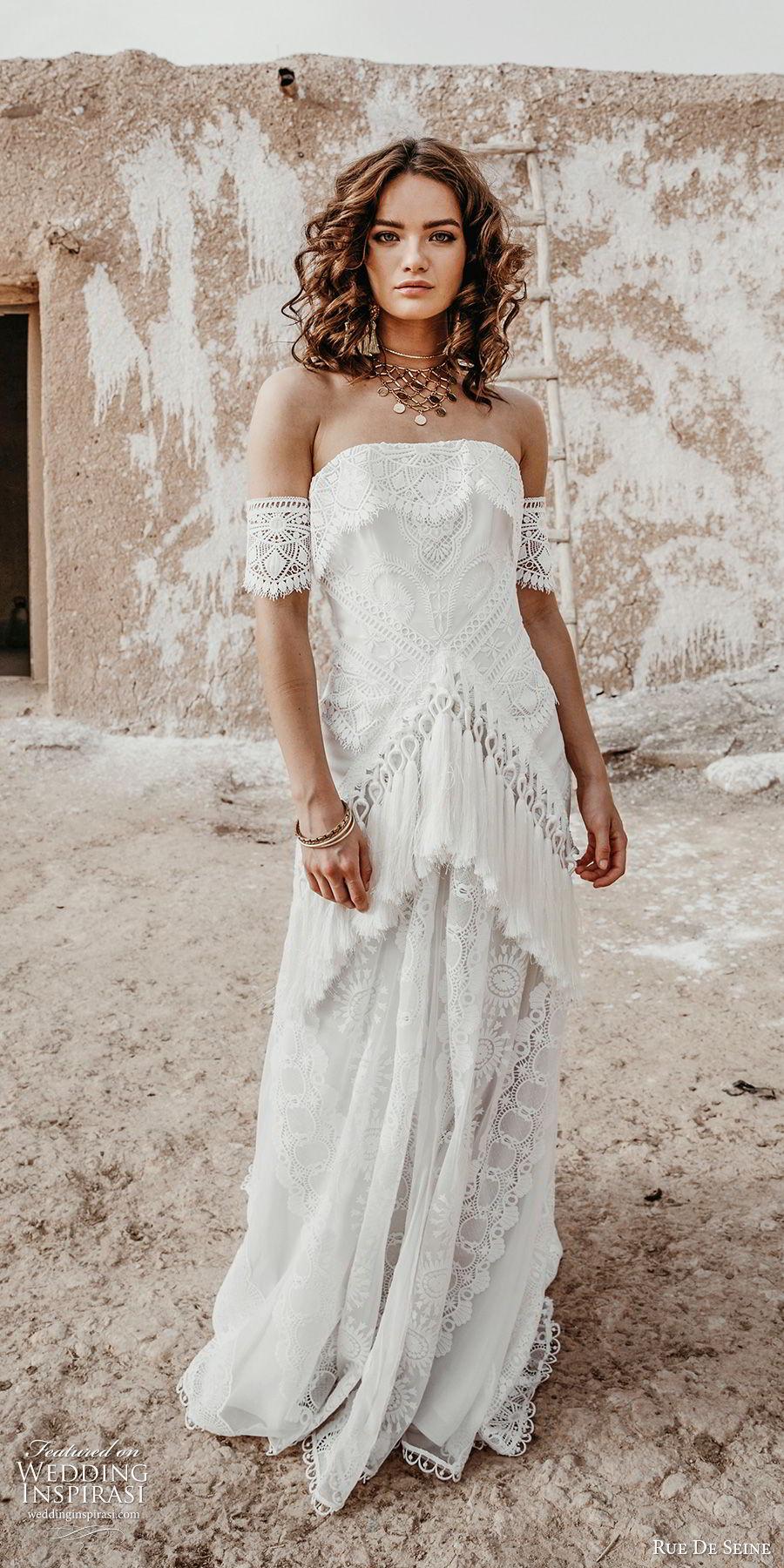 rue de seine 2019 bridal strapless straight across detached sleeves fully lace modified a line wedding dress (15) romantic boho chic chapel train mv