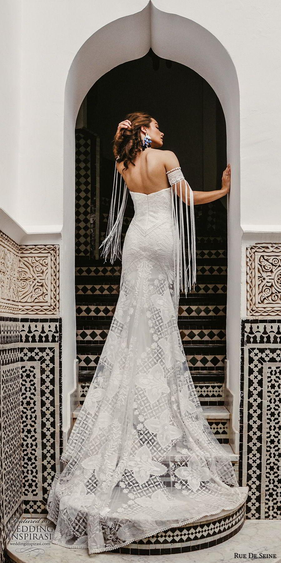 rue de seine 2019 bridal strapless straight across split neckline detached sleeves fully lace modified a line wedding dress (14) romantic boho chic chapel train bv