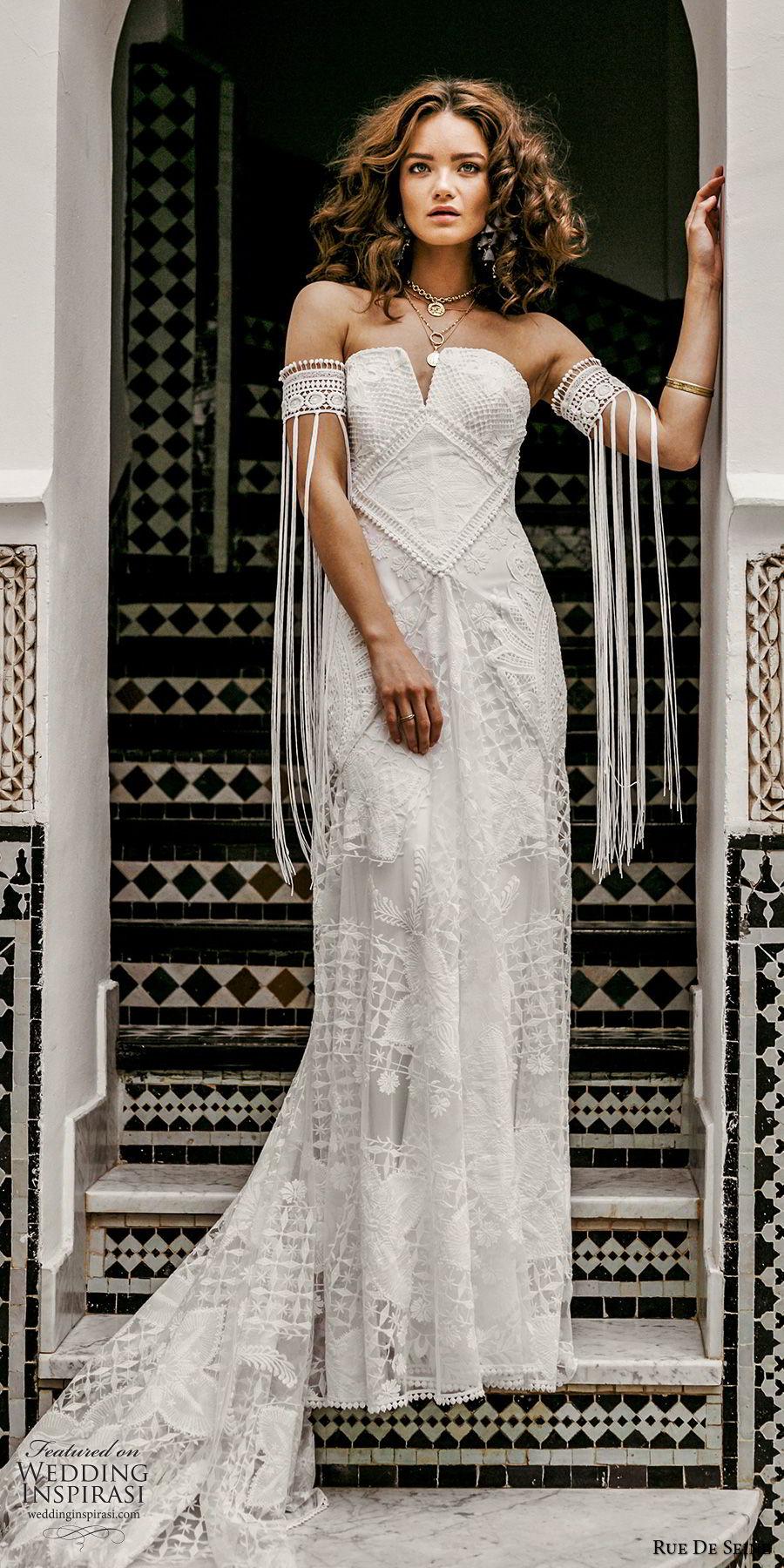 rue de seine 2019 bridal strapless straight across split neckline detached sleeves fully lace modified a line wedding dress (14) romantic boho chic chapel train mv