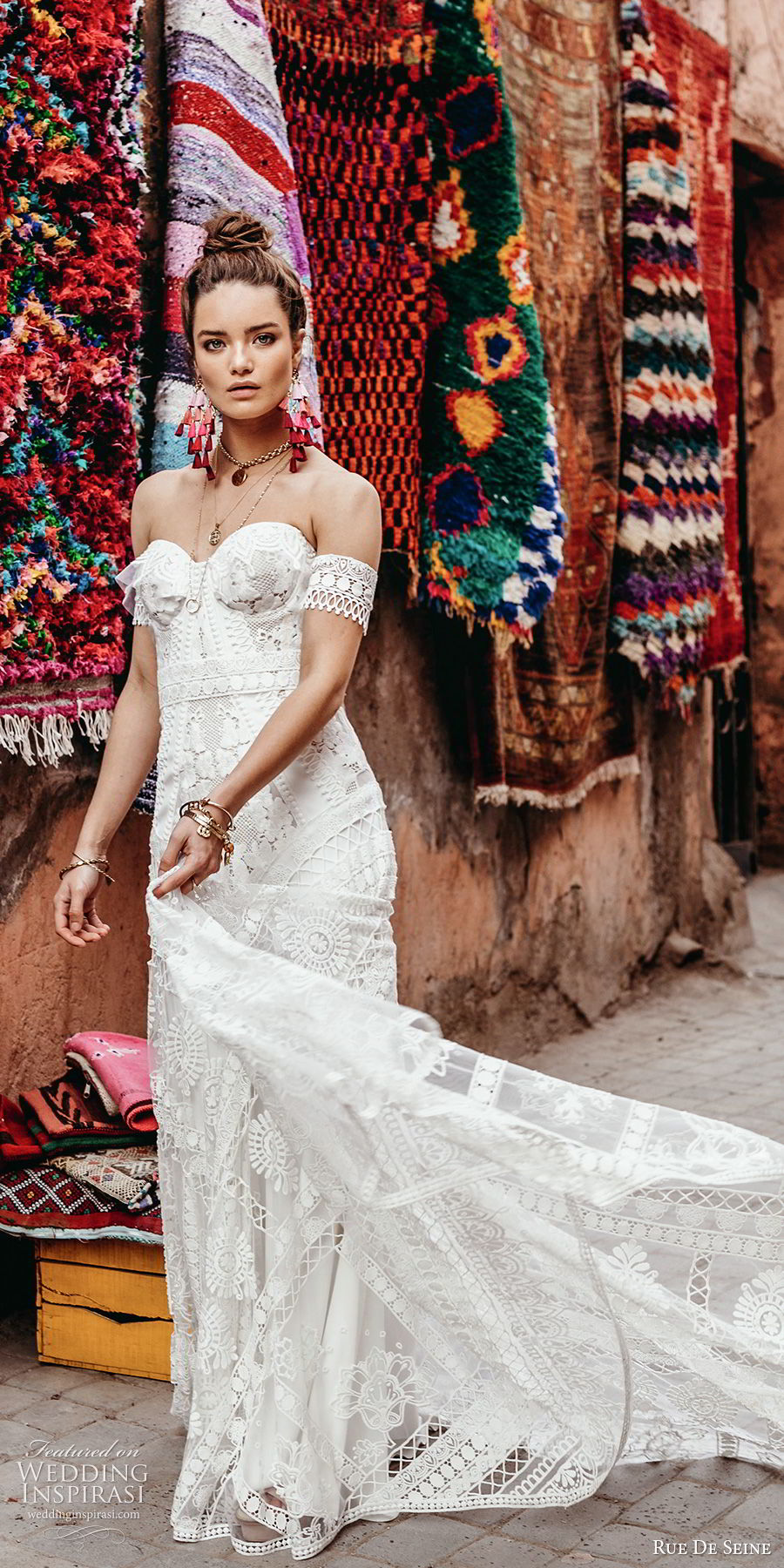 rue de seine 2019 bridal strapless sweetheart neckline detached short sleeves fully embellished crochet lace fit flare a line wedding dress (5) romantic boho chic chapel train mv