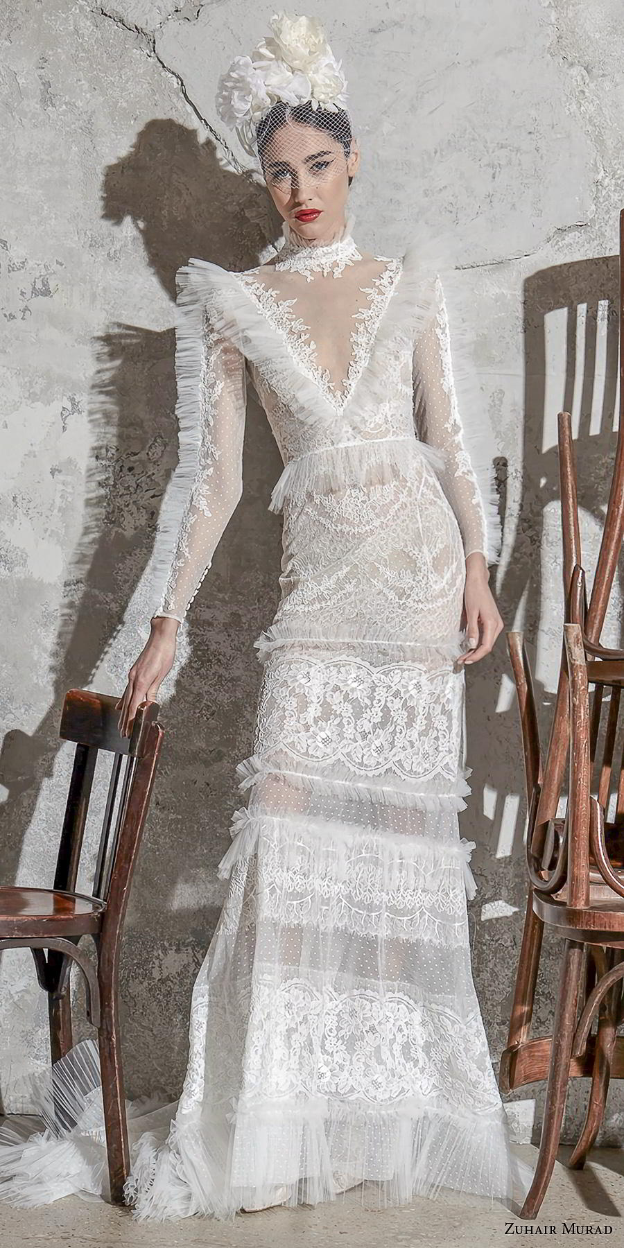 zuhair murad spring 2020 bridal long sleeves illusion high neck v neck full embellishment vintage spanish sheath wedding dress (12) mv