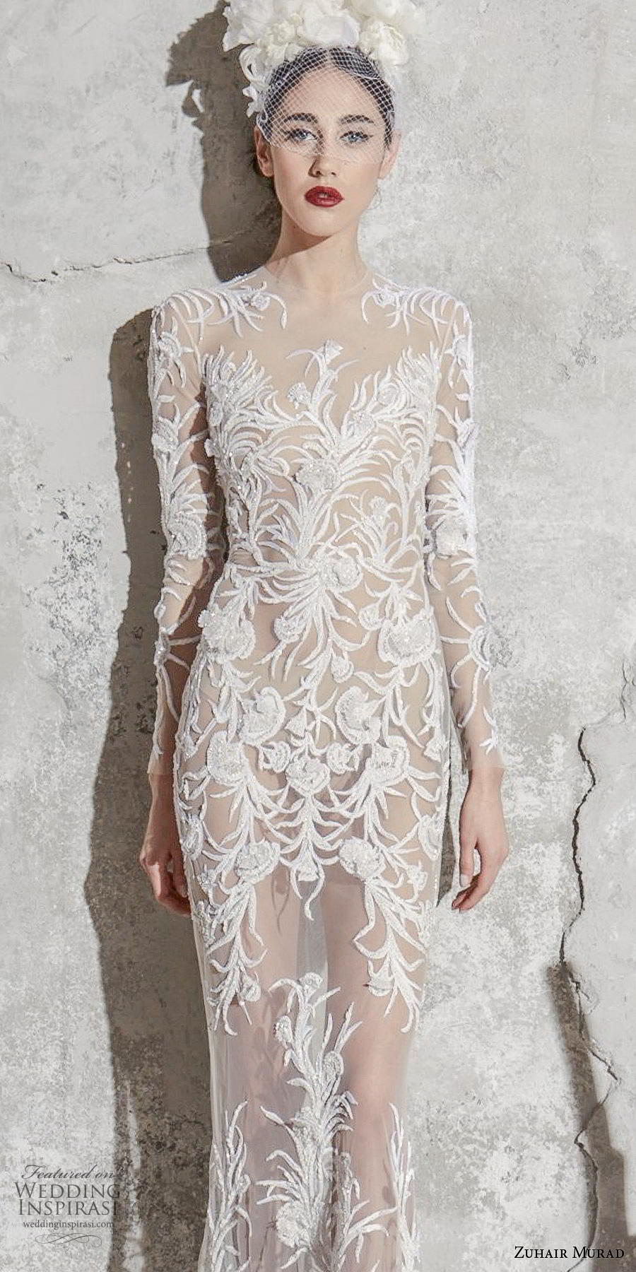 zuhair murad spring 2020 bridal long sleeves illusion jewel neckline full embellishment full sheer glamorous sexy sheath wedding dress (6) lv