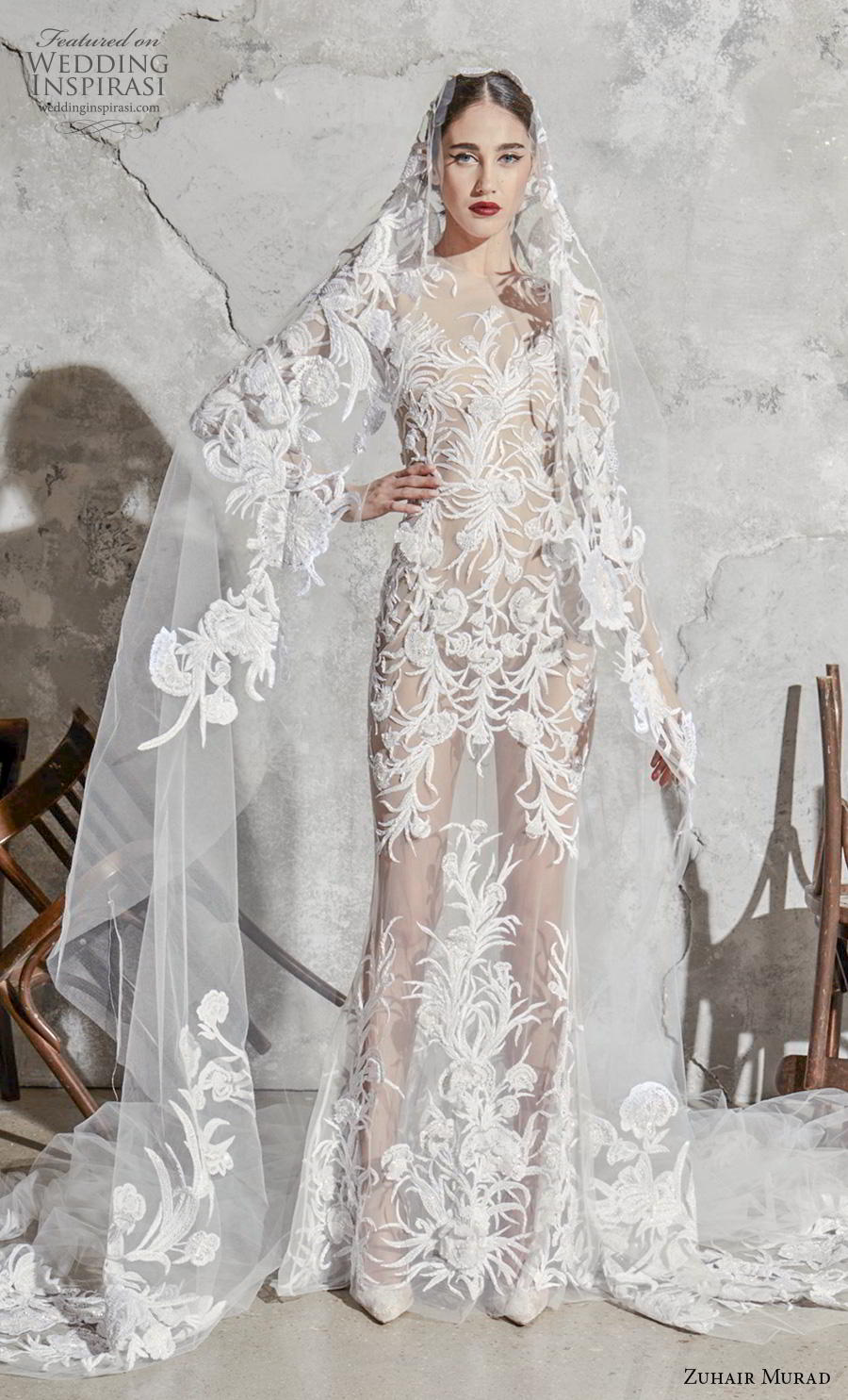 zuhair murad spring 2020 bridal long sleeves illusion jewel neckline full embellishment full sheer glamorous sexy sheath wedding dress (6) mv