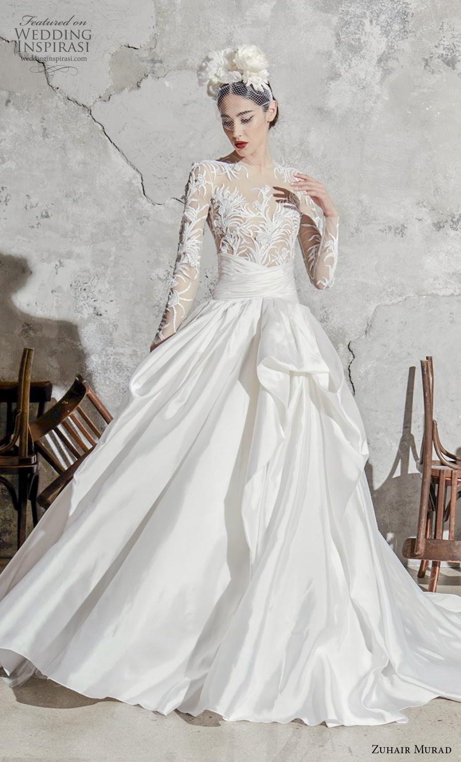 zuhair murad spring 2020 bridal long sleeves jewel neck sheer heavily embellished bodice satin skirt glamorous a  line wedding dress chapel train (7) mv