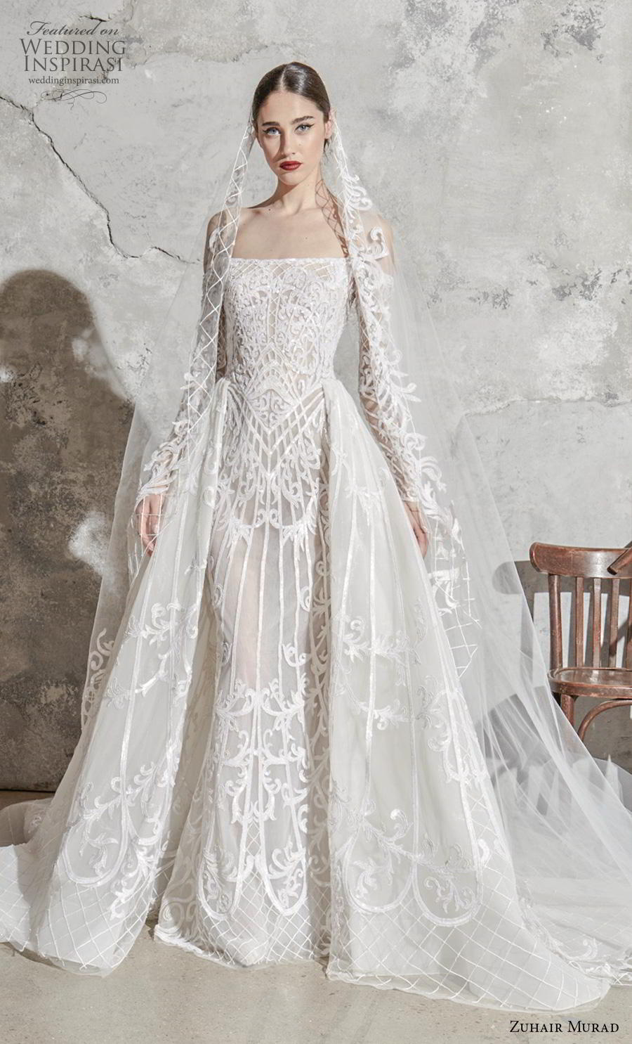 zuhair murad spring 2020 bridal long sleeves off the shoulder straight across neckline full embellishment glamorous princess a  line wedding dress overskirt chapel train (5) mv