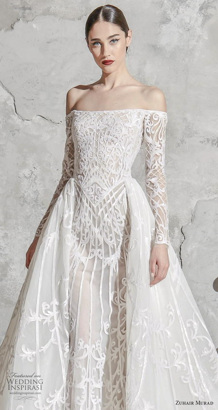 zuhair murad spring 2020 bridal long sleeves off the shoulder straight across neckline full embellishment glamorous princess a  line wedding dress overskirt chapel train (5) zv