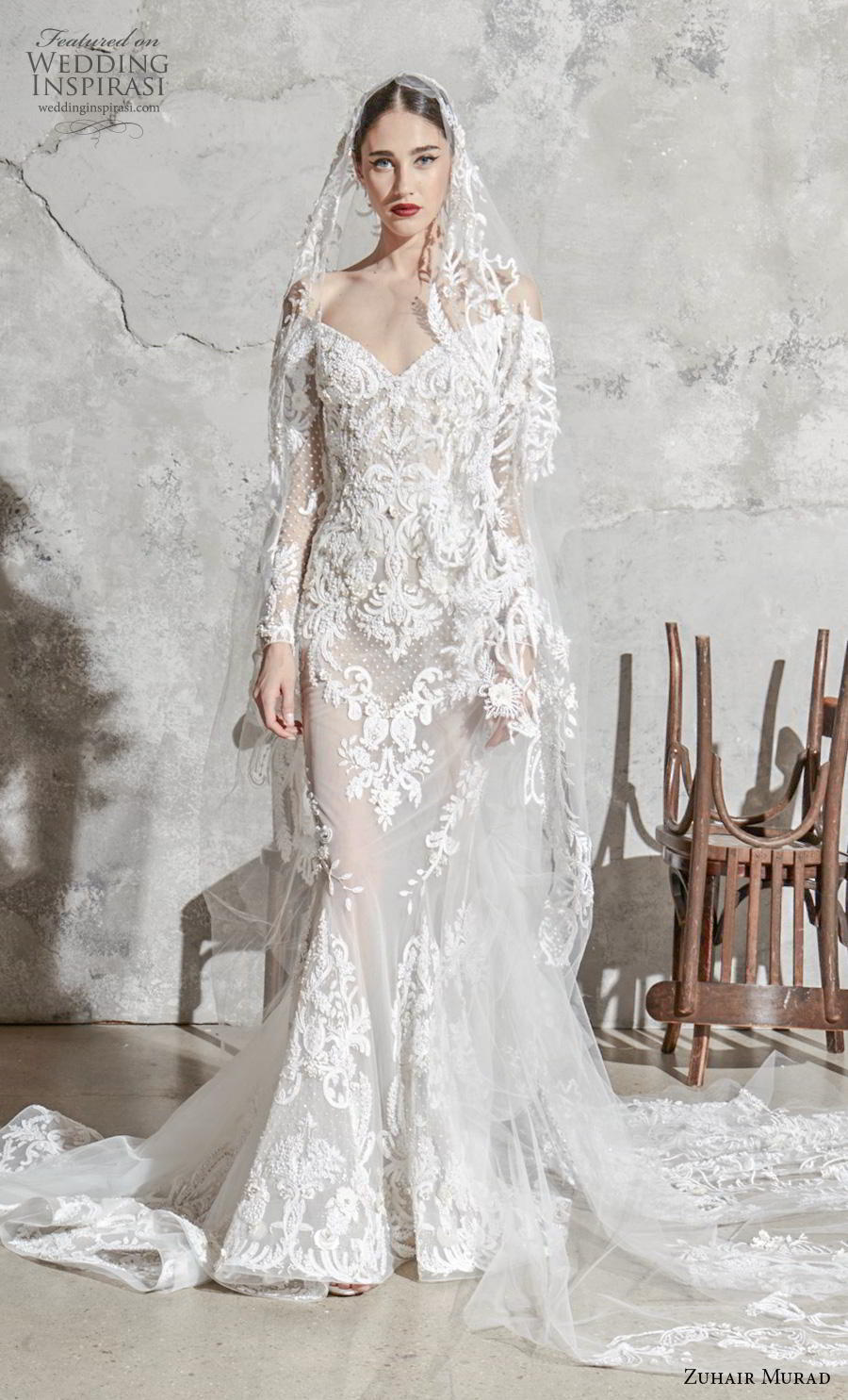 zuhair murad spring 2020 bridal long sleeves off the shoulder v neck full embellishment elegant fit and flare mermaid wedding dress chapel train (3) mv