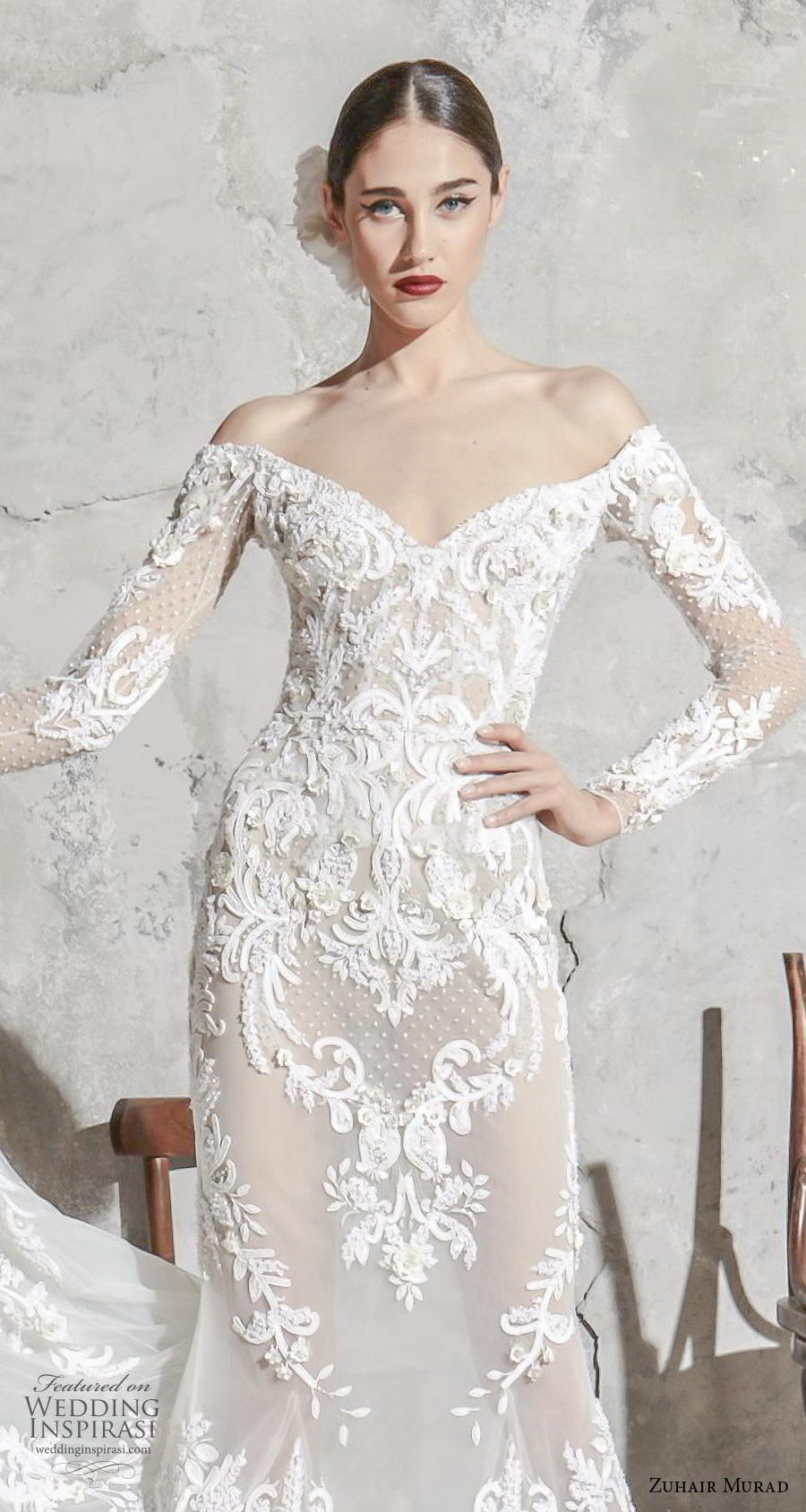 zuhair murad spring 2020 bridal long sleeves off the shoulder v neck full embellishment elegant fit and flare mermaid wedding dress chapel train (3) zv