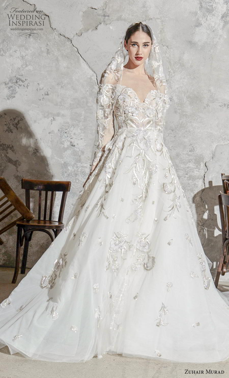 zuhair murad spring 2020 bridal long sleeves sweetheart neckline heavily embellished bodice elegant princess a  line wedding dress chapel train (2) mv