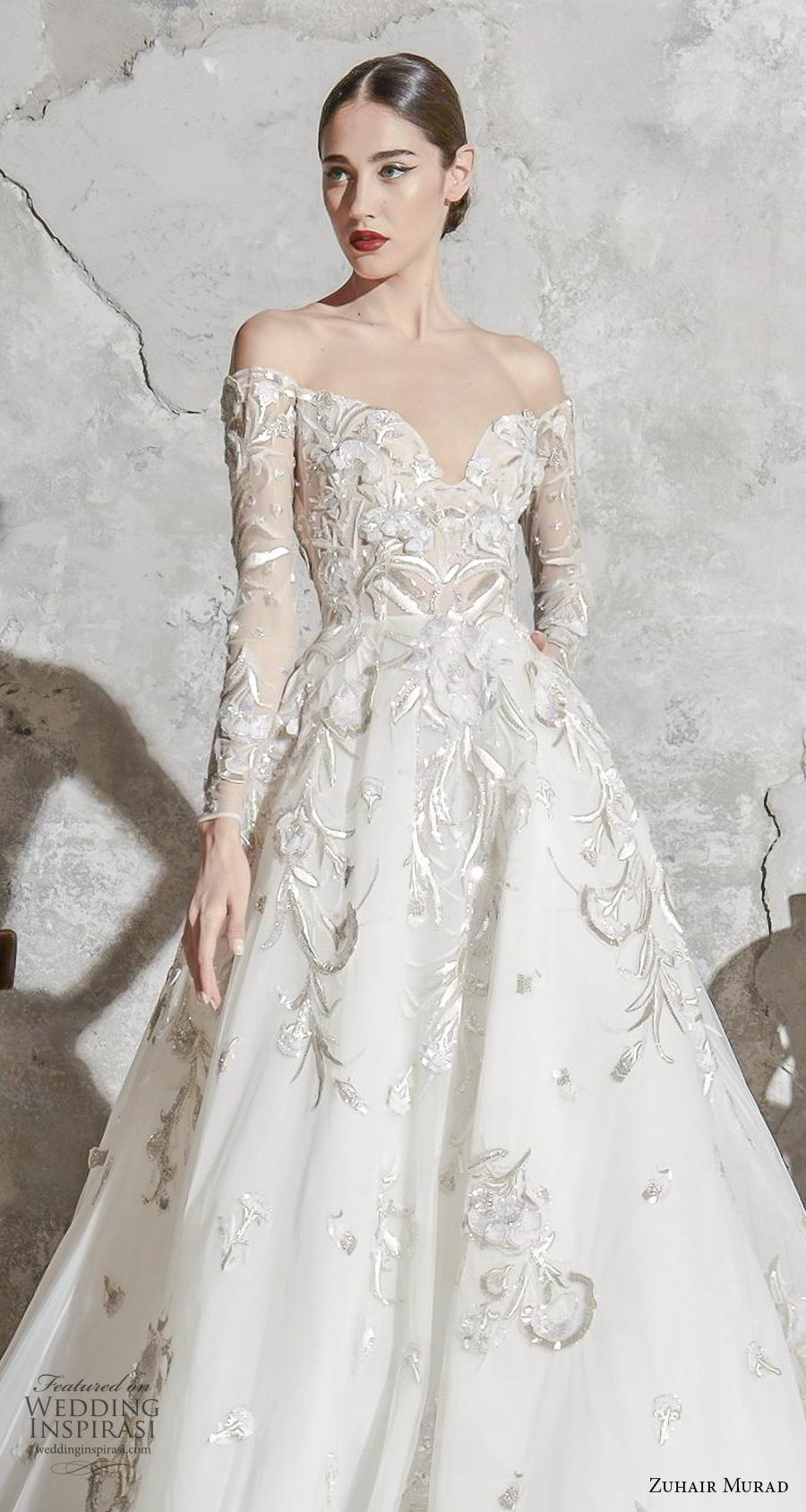 zuhair murad spring 2020 bridal long sleeves sweetheart neckline heavily embellished bodice elegant princess a  line wedding dress chapel train (2) zv