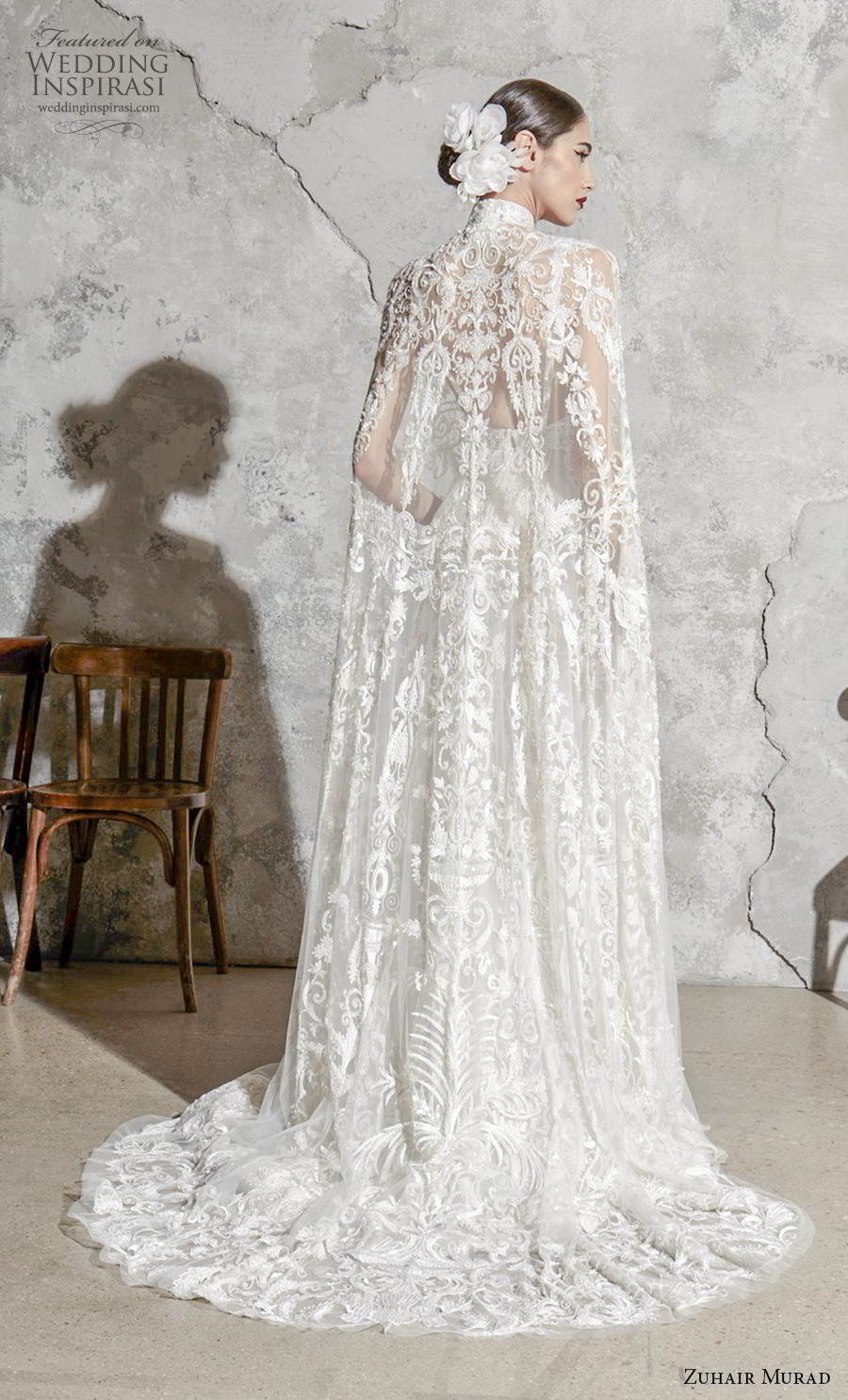 zuhair murad spring 2020 bridal sleeveless deep v neck full embellishment elegant princess a  line wedding dress with cape (8) bv