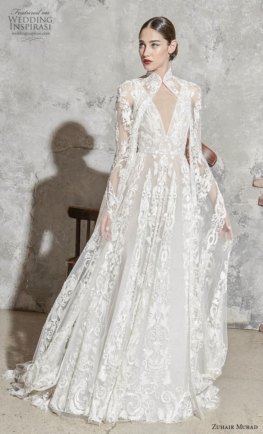 zuhair murad spring 2020 bridal sleeveless deep v neck full embellishment elegant princess a  line wedding dress with cape (8) mv