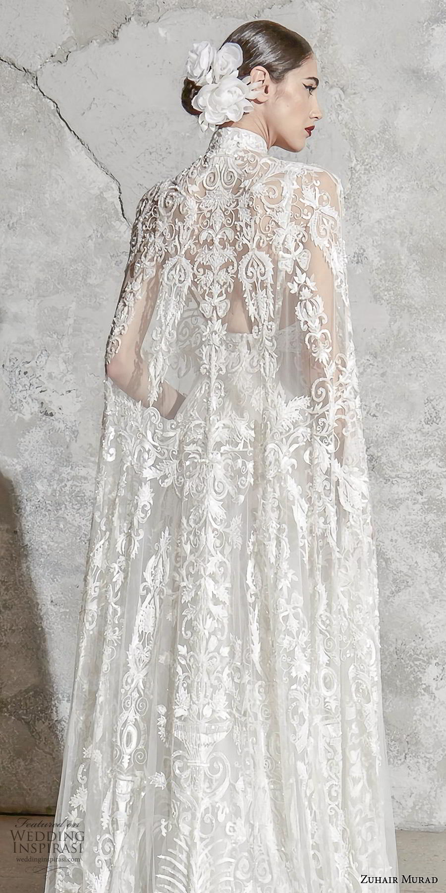 zuhair murad spring 2020 bridal sleeveless deep v neck full embellishment elegant princess a  line wedding dress with cape (8) zbv