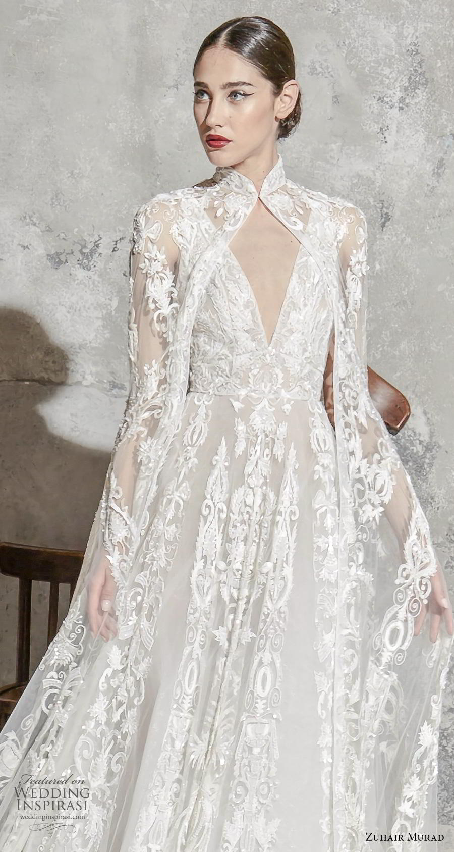 zuhair murad spring 2020 bridal sleeveless deep v neck full embellishment elegant princess a  line wedding dress with cape (8) zv