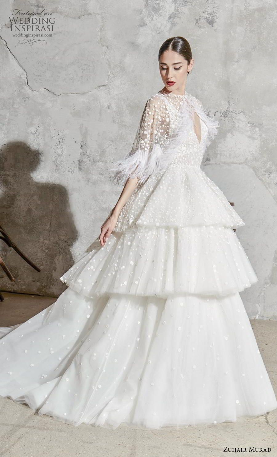 zuhair murad spring 2020 bridal sleeveless deep v neck heavily embellished bodice tiered skirt romantic princess ball gown a  line wedding dress chapel train (5) mv