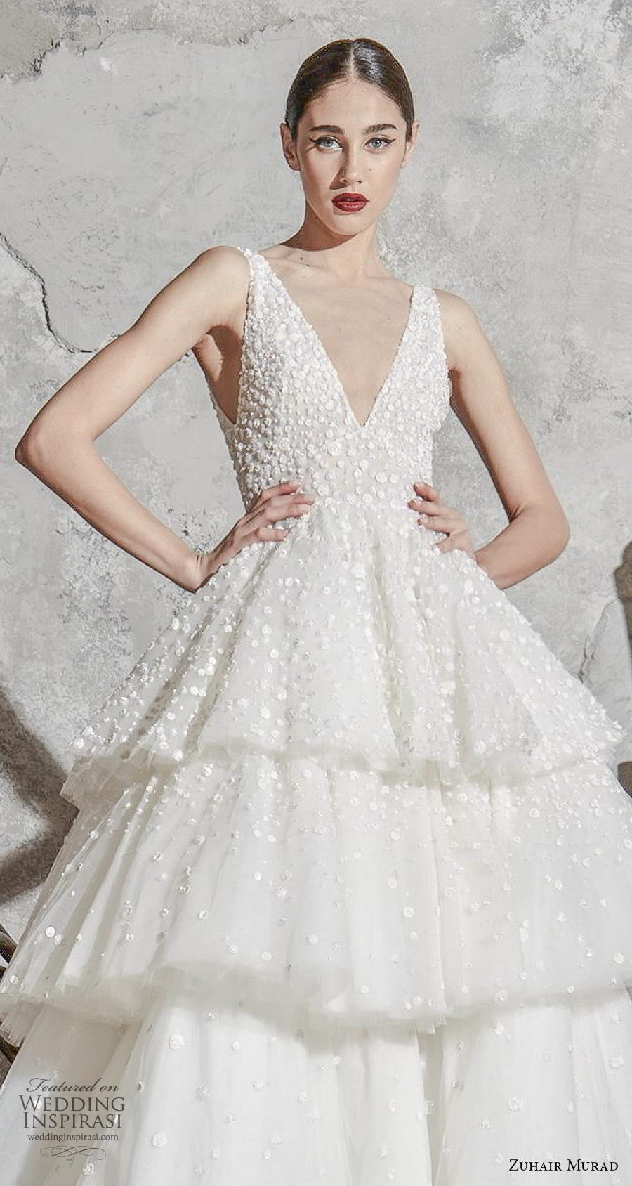 zuhair murad spring 2020 bridal sleeveless deep v neck heavily embellished bodice tiered skirt romantic princess ball gown a  line wedding dress chapel train (5) zv