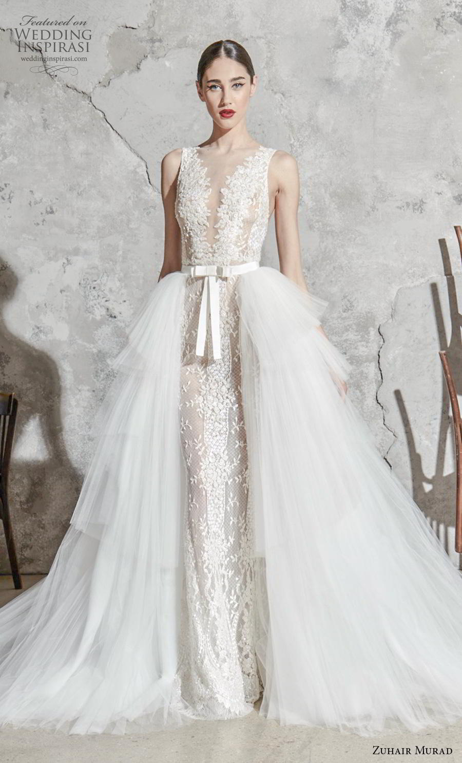 zuhair murad spring 2020 bridal sleeveless with strap illiusion jewel v neck full embellishment elegant fit and flare sheath wedding dress a  line overskirt chapel train (10) mv