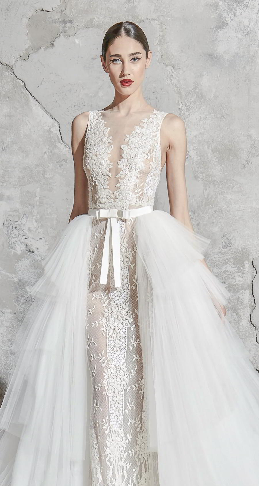 zuhair murad spring 2020 bridal sleeveless with strap illiusion jewel v neck full embellishment elegant fit and flare sheath wedding dress a  line overskirt chapel train (10) zv