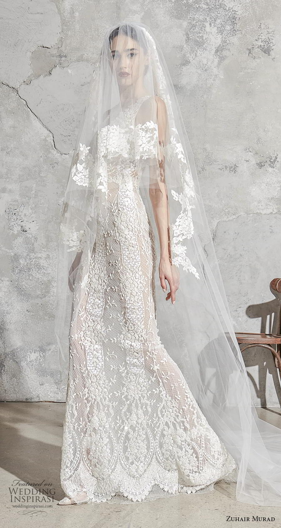 zuhair murad spring 2020 bridal sleeveless with strap v neck full embellishment elegant fit and flare sheath wedding dress sweep train (10) mv