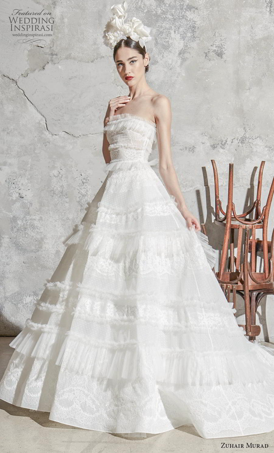zuhair murad spring 2020 bridal strapless straight across neckline full embellishment romantic a  line wedding dress chapel train (11) mv