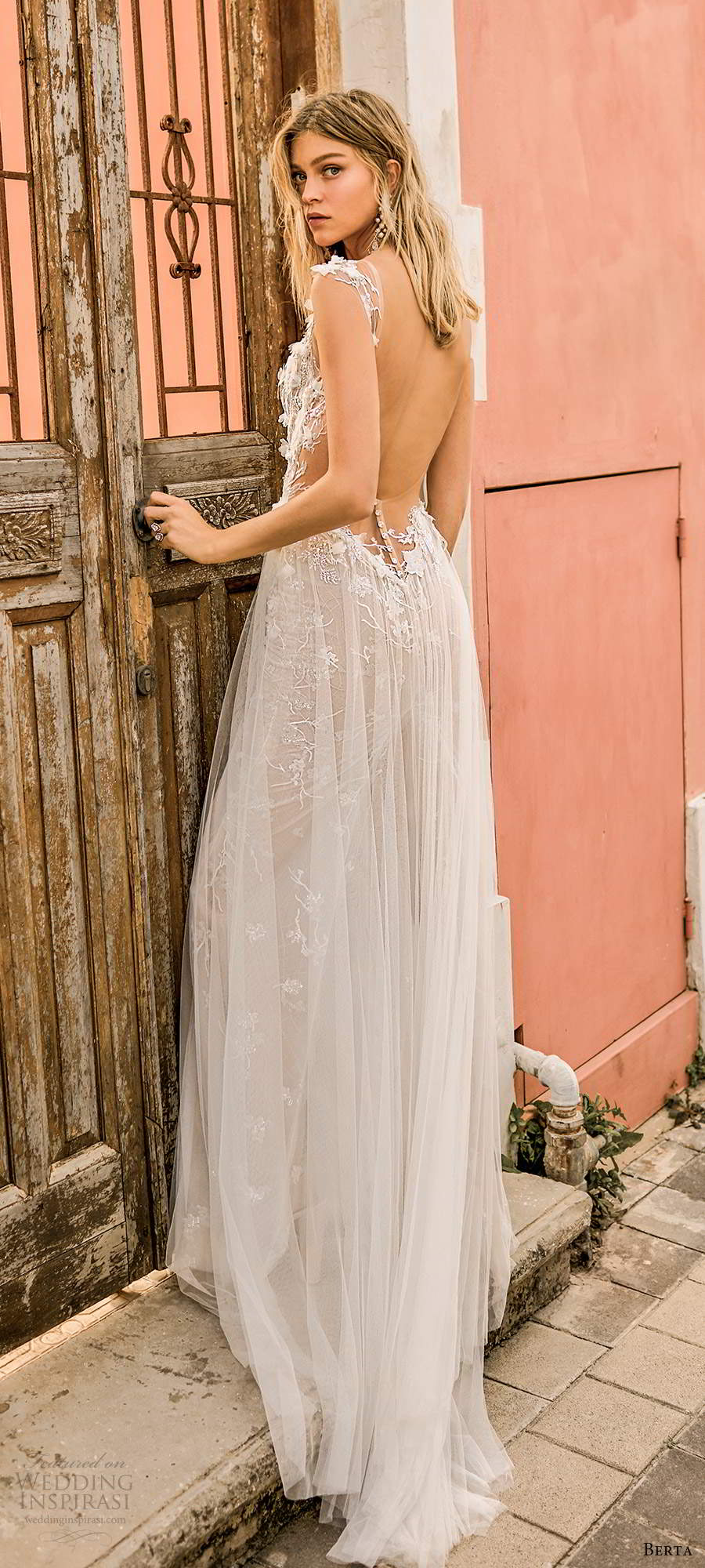 berta 2020 muse bridal illusion cap sleeves sweetheart neckline fully embellished a line wedding dress  open back sweep train (2) bv