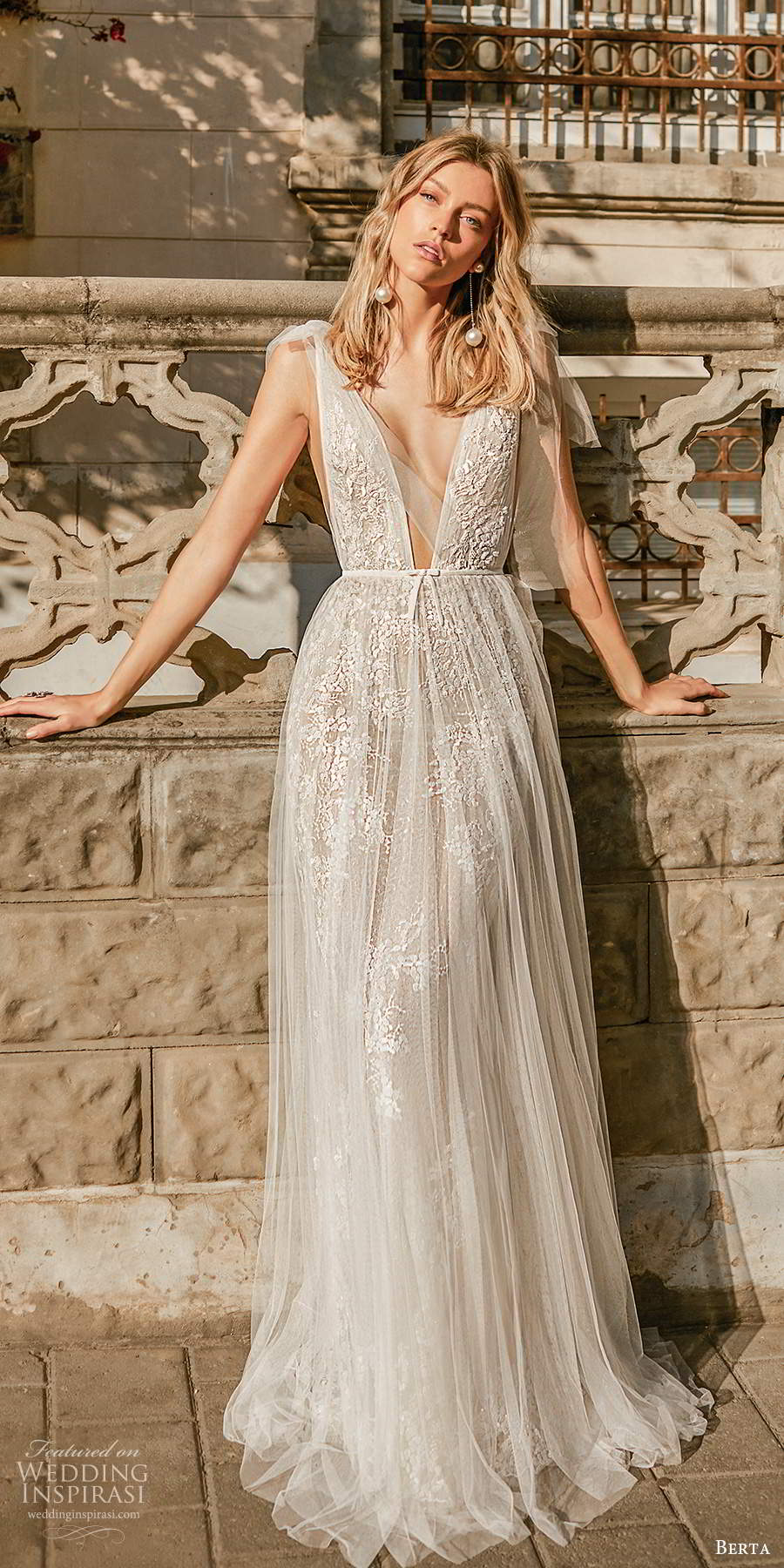 berta 2020 muse bridal sleeveless thick tie straps plunging v neckline fully embellished lace romantic ball gown a line wedding dress scoop back sweep train  (10) mv
