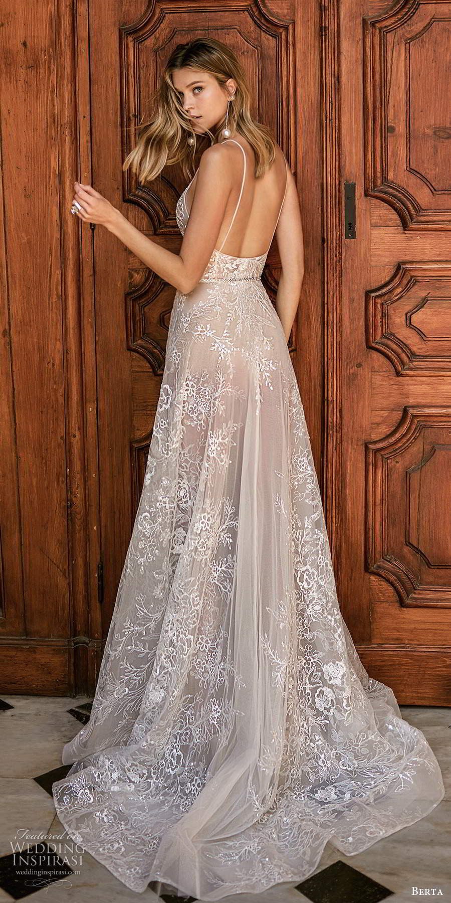 berta 2020 muse bridal sleeveless thin straps v neckline fully embellished lace a line ball gown romantic wedding dess chapel train (1) bv